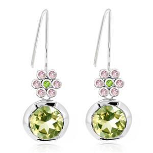ต่างหูเงินแท้ 925 ชุบโรเดียม ดีไซน์เก๋ ตุ้งติ้งสไตล์ผู้หญิงทันสมัย ประดับด้วย Lemon Quartz สีเขียวอ่อนเม็ดใหญ่ Tsavorite สีเขียวเม็ดเล็กและ Pink Sapphire สีชมพู  เติมความมั่นใจ และพลังสร้างสรรค์