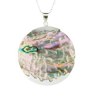 จี้มุก Mother of Pearl ดีไซน์รูปทรงกลม สวยงามเจิดจรัสได้ทุกงาน บนตัวเรือนเงินแท้ชุบทองคำขาว
