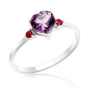 แหวนเงินแท้ ประดับพลอยอเมทิสต์ (Amethyst) รูปหัวใจ และ ทับทิม (Ruby) เสริมบุคลิกความมั่นใจ เสริมความรัก เสริมให้มีสติ