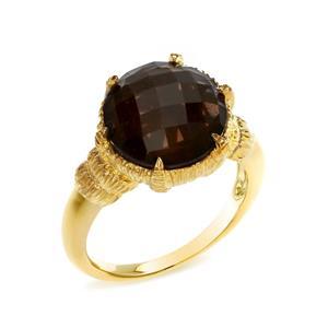 แหวนเงินแท้ 925 ชุบทอง ประดับพลอยสโมกกี้ควอตซ์ (Smoky Quartz) เม็ดโต เจียระไน ส่องประกายให้ตัวคุณ