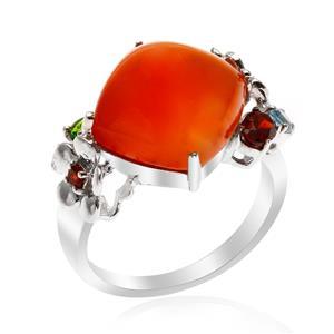แหวนคาร์เนเลี่ยน (Carnelian) ตัวเรือนเงินแท้ ประดับพลอยแท้หลากสี มีความหมายดีๆ
