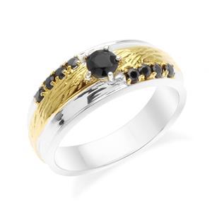 แหวนเงินแท้ ประดับด้วย Black Spinel ตัวเรือนชุบโรเดียมและทอง