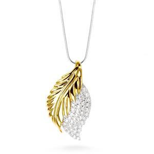 จี้เงินแท้ ชุบทอง ประดับด้วย DiamondLike รูปใบไม้