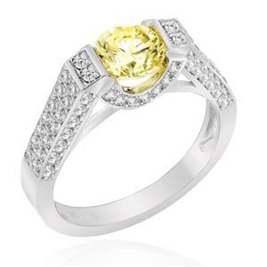 แหวนเพชร DiamondLike สีเหลือง ทรงกลม ดีไซน์สุดหรูหรา โชว์ตัวพชรด้านข้าง ตัวเรือนเงินแท้ชุบทองคำขาว