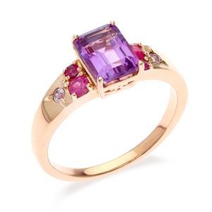 แหวนเงินแท้ ประดับพลอยอเมทิสต์ Pink Sapphire และโกเมน