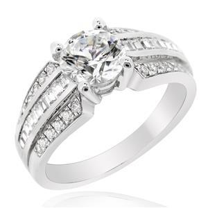 แหวนเพชรDiamondLike ดีไซน์โดดเด่นด้วยเพชรDiamondLikeรูปทรงกลม ตัวเรือนเงินแท้ชุบทองคำขาว