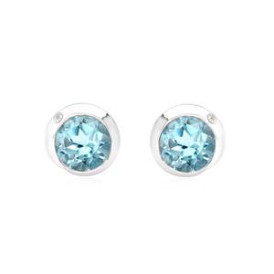 ต่างหูพลอยแท้ Blue Topaz  อัญมณีสีฟ้า ตัวเรือนเงินแท้ชุบทองคำขาว ตกแต่งด้วย คิวบิกเซอร์โคเนีย (Cubic Zirconia ) ดีไซน์เรียบหรู ดูดี