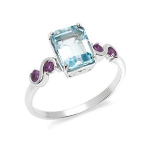 แหวนโทแพซสีฟ้า (Blue topaz ) และ อเมทีสต์ (Amethyst)ตัวเรือนเงินแท้ 925 ชุบโรเดียม