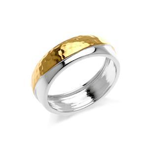 แหวน Two Tone Ring ตัวเรือนเงินแท้ 925 โรเดียม และทอง  ชุปเพิ่มลวดลายบนตัวเรือนให้ดูเก๋ไก๋