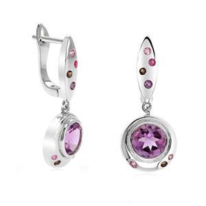 ต่างหูเงินแท้ 925 ประดับอเมทิส (Amethyst)สีม่วง, พิ้งแซฟไฟร์(Pink Sapphire)สีชมพูอ่อน,ทับทิม(Ruby)สีแดง,และสโมคกี้ควอทซ์ (Smoky Quartz) สีน้ำตาล ตัวเรือนเงินแท้ชุบทองคำขาว