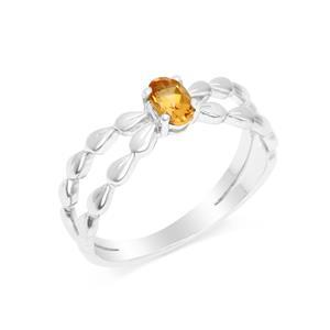 แหวนเงินแท้ 925 ประดับพลอยสีเหลือง ซิทริน (citrine) ทรงไข่ สวยเท่ห์อย่างมีสไตล์ ตัวเรือนชุบทองคำขาว
