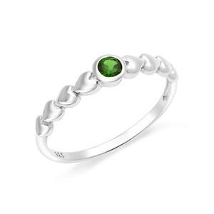 แหวนเงินแท้ 925 ประดับพลอยสีเขียว โครมไดออพไซด์  (Chrome Diopside)  สวยเท่ห์อย่างมีสไตล์ ตัวเรือนชุบทองคำขาว
