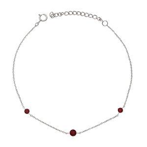 สร้อยข้อมือเงินแท้ 925 ประดับพลอยสีแดง โรโดไลท์ ( Rhodolite) ชุบทองขาว ดีไซน์เรียบเก๋ ดูน่ารักๆ ใสๆสไตล์เกาหลี ญี่ปุ่น