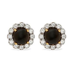 ต่างหูพลอยโกลเด้นซินออบซิเดียน Golden sheen obsidian  หลังเบี้ย ล้อมเพชร DiamondLike ดีไซน์ดอกไม้ ตัวเรือนเงินแท้ชุบทองคำ