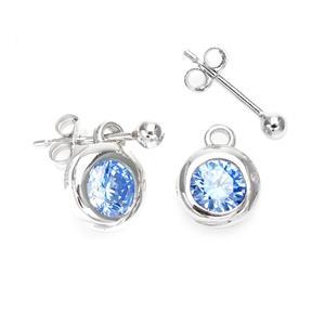 ต่างหู LENYA ETERNAL ประดับ SWAROVSKI ZIRCONIA สีฟ้าสวยงาม ตัวเรือนเงินแท้ชุบทองขาว