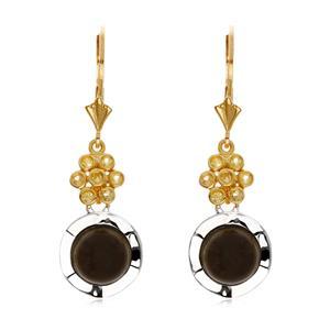 ต่างหูเงินแท้ 925 ชุบทองขาวและชุบทองสี 18 เค ประดับด้วยหินโกลเด้นซินออบซิเดียน Golden sheen obsidian  หลังเบี้ย พร้อมพลอยบุษราคัมเม็ดเล็กๆ( Yellow Sapphire) ดีไซน์ดอกไม้