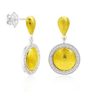 ต่างหูเงินแท้ 925 ชุป 2 สี ชุบทอง 18 เค และ ทองคำขาว ประดับด้วย Swarovski Zirconia