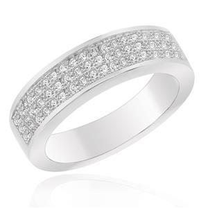 แหวนเพชร DiamondLike เรียบแต่หรูด้วยการฝังเพชร DiamondLike รอบตัวเรือน บนตัวเรือนเงินแท้ชุบทองคำขาว