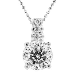 จี้เงินแท้ 925 ชุบทองขาว ประดับด้วย Diamondlike  เม็ดโต เปลี่ยนสไตล์ให้สร้อยเส้นเดิม ดูหรูหรา สวยงามมากขึ้น