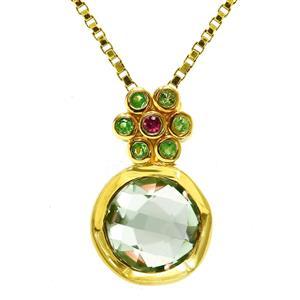 จี้เงินแท้ 925 ชุบทอง ประดับ อเมทีสต์สีเขียว(Green Amethyst) ซาโวไรท์(Tsavorite) และ ทับทิม(Ruby)