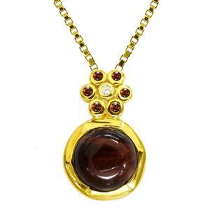 จี้เงินแท้ 925 ชุบทองประดับ ไทเกอร์อาย (Tiger Eye) โกแมน(Garnet) และ คิวบิกเซอร์โคเนีย (Cubic Zirconia)