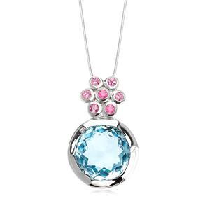 จี้เงินแท้ 925 บลูโทแพซ(ฺBlue Topaz) เจียรเหลี่ยมดอกไม้สวยงาม  พร้อมทั้งเพิ่มความหวานด้วย แซฟไฟร์สีชุมพู(Pink Sapphire) ตัวเรือนชุบทองขาว