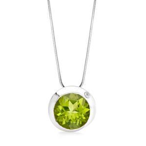 จี้พลอยเพอริดอท(Peridot) สีเขียว ตัวเรือนเงินแท้ชุบทองคำขาว
