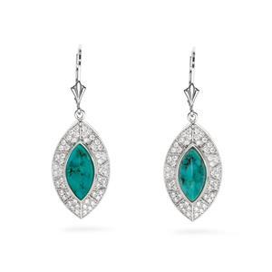 ต่างหูเงินแท้ 925 ชุบทองขาว ประดับด้วยเทอร์ควอยซ์(Turquoise) และ คิวบิกเซอร์โคเนีย (Cubic Zirconia)