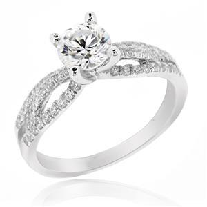 แหวนเพชร DiamondLike ดีไซน์หวานสุดๆ เหมาะสำหรับเป็นของขวัญ บนตัวเรือนเงินแท้ชุบทองคำขาว