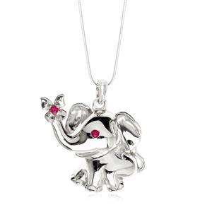 จี้ช้าง เอกลักษณ์ความเป็นไทย เงินแท้ ประดับพลอย ทับทิม ( Ruby) ชุบทองขาว สวยโดดเด่น
