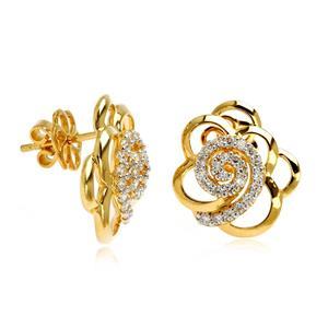 ต่างหูดอกไม้ ตัวเรือนเงินแท้ 925 ชุบทองคำ ประดับด้วย คิวบิกเซอร์โคเนีย (Cubic Zirconia) สีขาวสวยงาม