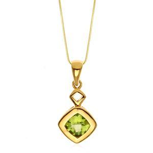 จี้เพอริดอท(Peridot) สีเขียว ตัวเรือนเงินแท้ 925 ชุบทอง