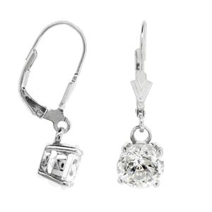 ต่างหู Diamondlike  กลม 8 มิล ตัวเรือนเงินแท้ 925 ชุบทองขาว ต่างหูตุ้งติ้ง สาวหวานใส่แล้วดูฟรุ้งฟริ้ง