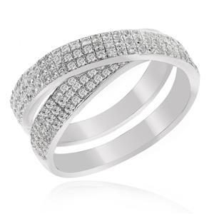 แหวน LENYA ETERNAL ประดับด้วย SWAROVSKI ZIRCONIA ดีไซน์แหวนซ้อนแหวนเรียบหรูสุดคลาสสิค  ตัวเรือนเงินแท้ชุบทองคำขาว