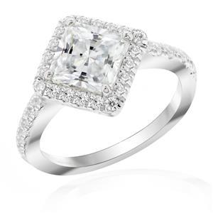 แหวนเงินแท้ ประดับด้วย Diamondlike สี่เหลี่ยม เรียบหรู เสริมบุคลิกเพิ่มความมั่นใจ ตัวเรือนเงินแท้ 925 ชุบทองขาว