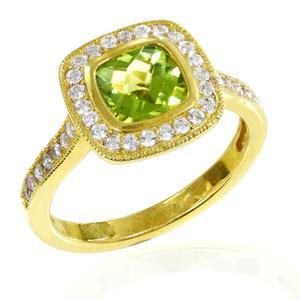 แหวนเงินแท้ ประดับพลอยสีเขียวอมเหลือง เพอริดอท( peridot)  ดีไซน์เรียบหรูดูโดดเด่น ตกแต่งด้วยคิวบิกเซอร์โคเนียเม็ดเล็ก ตัวเรือนชุบทองคำ หรูหรา เพิ่มความมั่นใจ