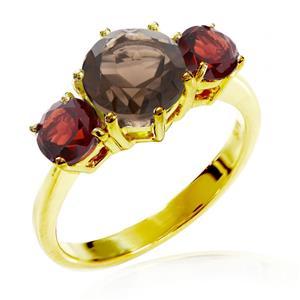 แหวนเงินแท้ 925 ชุบทองคำ ประดับพลอยสโมคกี้ควอตซ์(Smoky Quartz) และ โกเมน (Garnet) เสริมบุคลิกความมั่นใจ เสริมให้ร่ำรวย อัญมณีประจำเดือนมกราคม