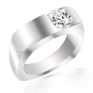 แหวน LENYA ETERNAL ประดับด้วยคิวบิกเซอร์โคเนีย (Cubic Zirconia) รูปทรงสีเหลี่ยมสีขาว ดีไซน์รูปแบบเฉพาะสวมใส่ได้ทั้งชายหญิง บนตัวเรือนเงินแท้ชุบทองคำขาว