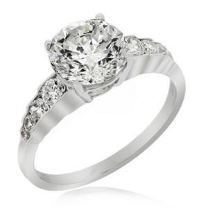 แหวนดีไซน์เรียบหรู หัวแหวนประดับคิวบิกเซอร์โคเนีย (Cubic Zirconia) ตัวเรือนเงินแท้ชุบทองคำขาว