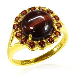 แหวนพลอยตาเสือ (Tiger's Eye) เม็ดโต ประดับ โกเมน(Garnet) ตัวเรือนเงินแท้ชุบทองคำ