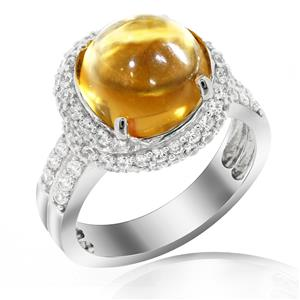 แหวนพลอยซิทริน(Citrine)  ล้อมเพชรDiamondLike ดีไซน์สุดหรูหรา บนตัวเรือนเงินแท้ชุบทองคำขาว