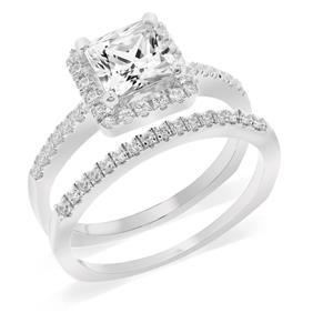 แหวนเพชร DiamondLike แบบประกบคู่ ดีไซน์หรูหรา บนตัวเรือนเงินแท้ชุบทองคำขาว