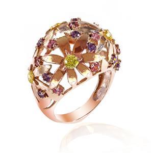 แหวนประดับ SWAROVSKI ZIRCONIA สีชมพู สีม่วง และสีเหลืองทอง ตัวเรือนเงินแท้ชุบสีพิ้งค์โกลด์