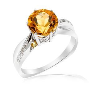 แหวนประดับ ซิทริน(Citrine) สีเหลือง แซฟไฟร์สีเหลือง (Yellow Sapphire) และ ไวโทแพซ(White Topaz) ตัวเรือนเงินแท้ชุบทองคำขาว