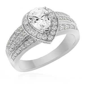 แหวนเพชร DiamondLike ดีไซน์รูปหยดน้ำ เติมความหวานได้อย่างลงตัว บนตัวเรือนเงินแท้ชุบทองคำขาว
