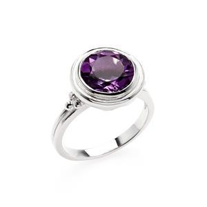 แหวน LenYa ประดับพลอยอเมทีสต์ (Amethyst)  ตัวเรือนเงินแท้ ชุบทองคำขาว เสริมรสนิยม สวยสง่า ดูดี