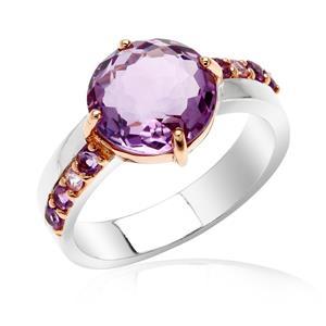 แหวนพลอยอเมทีสต์ (Amethyst) เม็ดโต ประดับพลอยเม็ดเล็ก อเมทีสต์ (Amethyst) และ แซฟไฟร์สีชุมพู(Pink Sapphire) ตัวเรือนเงินแท้ ชุบทองคำขาว และ สีพิ้งค์โกลด์