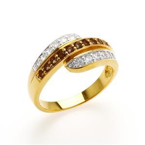 แหวน LenYa ประดับพลอยสโมคกี้ควอทซ์ (Smoky Quartz) และเพชรDiamondLike ตัวเรือนเงินแท้ชุบสีทอง 18K