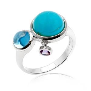 แหวนเทอร์ควอยซ์(Turquoise) บลูโทแพซ(Blue Topaz) เจียระไนหลังเบี้ย และ อเมทีสต์ (Amethyst) ตัวเรือนเงินแท้ 925 ชุบทองขาว