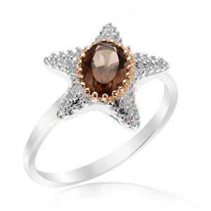 แหวนดีไซน์ปลาดาวน่ารัก ประดับด้วยพลอย สโมคกี้ควอตซ์(Smoky Quartz) ตัวเรือนเงินแท้ 925 ชุบด้วยทองคำขาว และ พิ้งค์โกลด์ที่ขอบพลอยสวยงาม ไม่เหมือนใคร